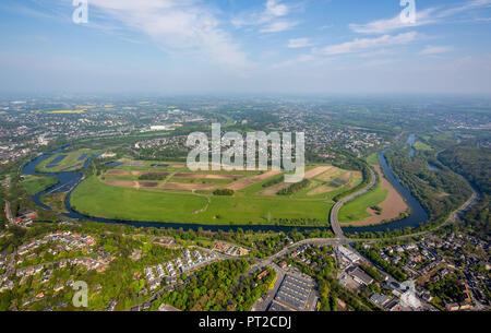 Ruhr peninsula Überruhr, Ruhrbogen, Ruhr Valley, Ruhr, Essen, Ruhr Area, North Rhine-Westphalia, Germany, Europe - Stock Photo