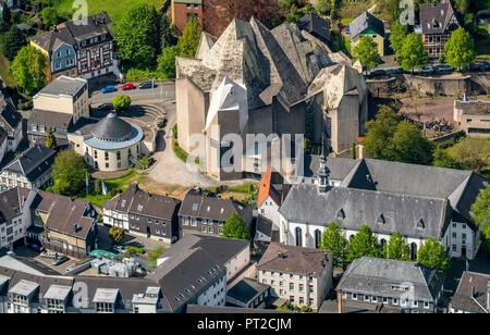 Overview Downtown Neviges, Neviges Pilgrimage Cathedral is a pilgrimage church on the Hardenberg in the Velbert district Neviges, Velbert-Neviges, Velbert, Ruhr, North Rhine-Westphalia, Germany, Europe - Stock Photo