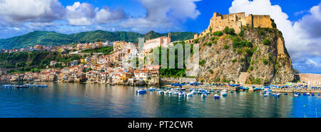 Beautiful Scilla village ,view with old castle,houses and sea,Calabria,Italy. - Stock Photo