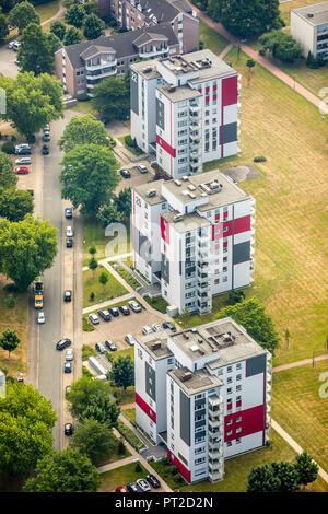 numbered skyscrapers Baßfeldhof, social housing, social hot spot, apartment block, skyscraper, high-rise building, Dinslaken, Ruhr area, North Rhine-Westphalia, Germany - Stock Photo