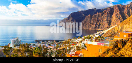 Impressive Los Gigantes ,view with cliffs and sea over sunset,Canary island,Spain. - Stock Photo