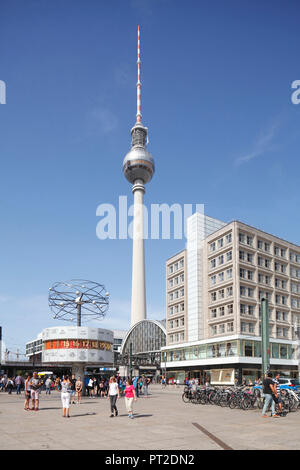 Urania World Clock with Berlin TV Tower, Alexanderplatz, Mitte, Berlin, Germany, Europe - Stock Photo
