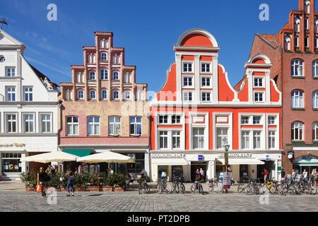 Historic Facades, Platz am Sande, old town, Lüneburg, Lower Saxony, Germany, Europe - Stock Photo