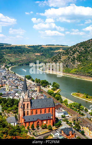 Germany, Rhineland-Palatinate, Middle Rhine Valley, Oberwesel and Church of Our Lady, Middle Rhine - Stock Photo