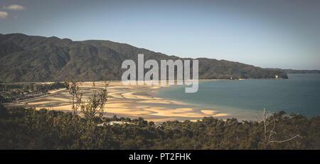 New Zealand, Abel Tasman National Park, Marahau, sandy beach, - Stock Photo