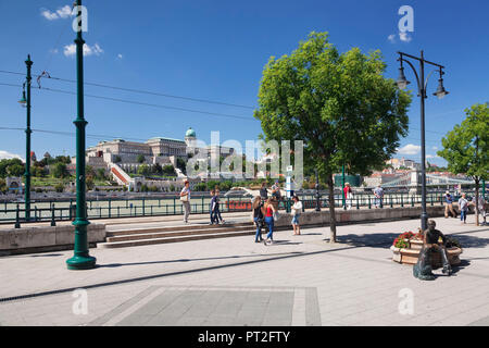View from the waterfront of Pest over Danube to the Buda Castle, Budapest, Hungary - Stock Photo