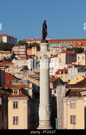Column with the statue of King Pedro IV at the Praca de Dom Pedro IV, Baixa, Lisbon, Portugal - Stock Photo