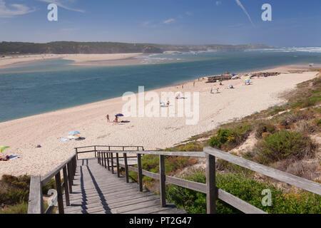 Rio Mira River reaching the Atlantic at Vila Nova de Milfontes, Costa Alentejana, West Coast, Alentejo, Portugal - Stock Photo