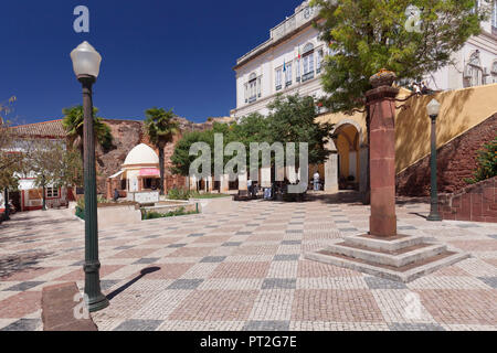 Square in front of the town hall, Silves, Algarve, Portugal - Stock Photo