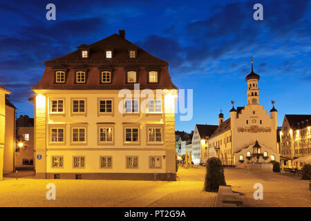 Town hall square with town hall, Kempten, Swabia, Bavaria, Germany - Stock Photo