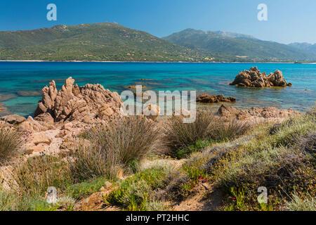 Coast in the bay of Propriano, Corse du Sud, Corsica, France - Stock Photo