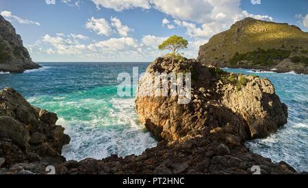 Coast at Sa Calobra, Tramuntana, Mallorca, Balearic Islands, Spain - Stock Photo