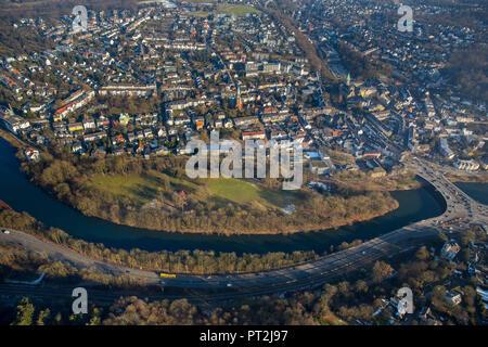 Brehm Island, Ruhr Valley, Essen-Werden, Essen, Ruhr area, North Rhine-Westphalia, Germany - Stock Photo