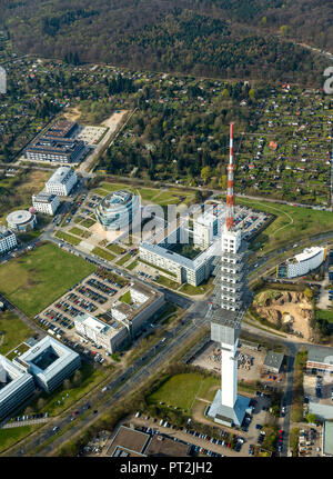 High-rise office building Heise headquarters in Hannover in sphere shape, Heise Media GmbH & Co KG, special architecture, Telemax, telecommunications tower in Hannover, radio transmission Hannover 9, Hannover, state capital, Lower Saxony, Germany - Stock Photo