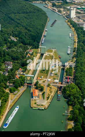 Wesel-Datteln-Kanal, lock with construction work, inland shipping and freighter traffic jam at the sluice gate basin, Dorsten, Ruhr area, North Rhine-Westphalia, Germany - Stock Photo