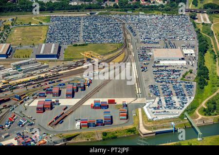 Logport1, Logport 1, Container harbour at the Rhine, Duisburg HafenAG, Inland Navigation, Logistics, Rhine, Port, Duisburg, Ruhr Area, North Rhine-Westphalia, Germany - Stock Photo