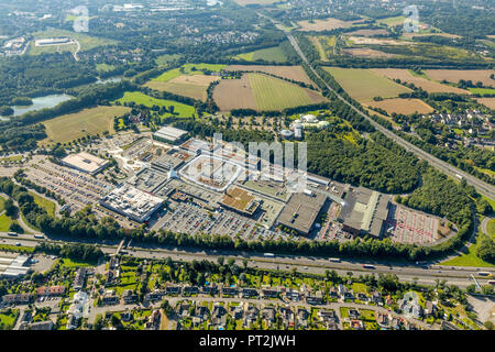 Ruhrpark shopping center on a greenfield site, Ruhrpark center, Ruhr Park, JAKO-O branch Bochum, UCI Kinowelt Bochum, Karstadt Sports, at the interchange A43 and A40, Ruhrschnellweg, Bochum, Ruhr area, North Rhine-Westphalia, Germany - Stock Photo
