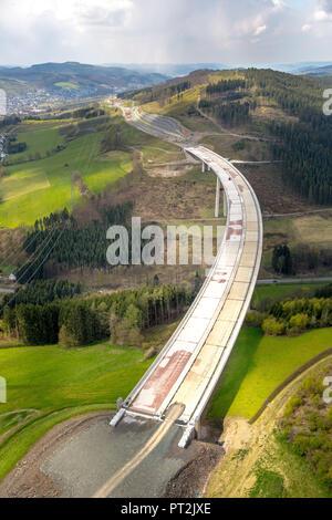 Expansion of the A46 motorway, Sauerland Bridge, Bestwig, Sauerland, Hochsauerlandkreis, North Rhine-Westphalia, Germany - Stock Photo
