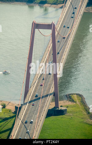 Emmerich bridge over the Rhine, Rhine crossing, Rhine bridge, steel bridge, suspension bridge, Emmerich, Lower Rhine, North Rhine-Westphalia, Germany - Stock Photo
