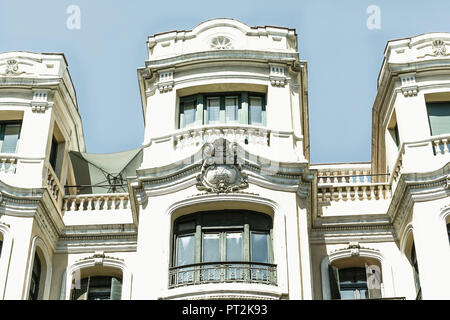 House facade, decorated with stucco, Madrid, Spain, urban architecture - Stock Photo