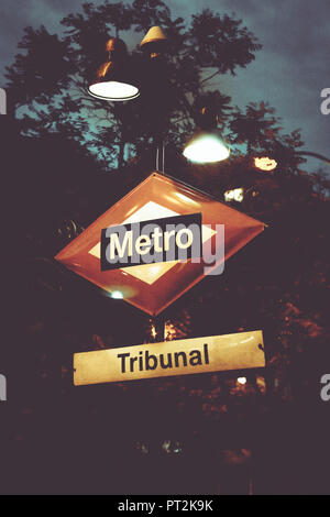 The Metro Station Sign Tribunal in Madrid, Spain, Europe - Stock Photo