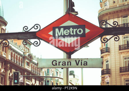 The metro station sign Gran Via in Madrid, Spain, Europe - Stock Photo