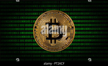 Symbolic image of digital currency, golden physical coin Bitcoin in front of digital binary code - Stock Photo