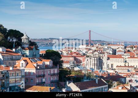 View over Lisbon from the Miradouro da Garca, city and bridge Ponte 25 de Abril - Stock Photo