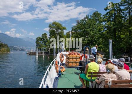Excursion boat to Brissago Island, near Brissago, Lake Maggiore, Ticino, Switzerland - Stock Photo