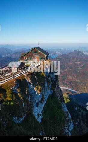 Austria, Salzkammergut, Schafberg, Schutzhaus Himmelspforte, view to Lake Fuschl, - Stock Photo