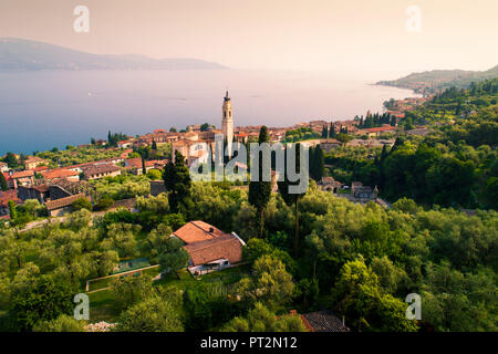 Elevated view of Gargnano, a small village on Garda Lake coastline, Brescia District, Lombardia, Italy - Stock Photo
