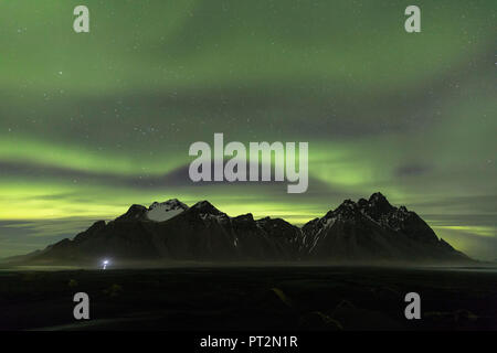 Vestrahorn mountain and the Northen Lights, Stokksnes, Hofn, Eastern Iceland, Iceland, Europe, - Stock Photo