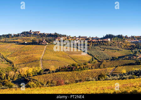 Panzano in Chianti, Florence, Tuscany, Italy, Panzano village at sunrise - Stock Photo