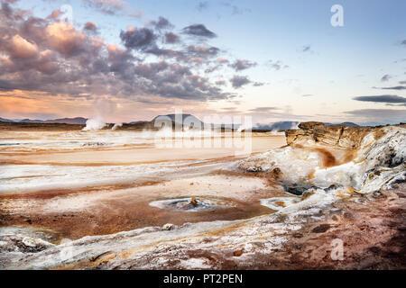 Island, Myvatn, Hverir, solfatara field, mudpots - Stock Photo