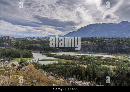 View from the Klondike Highway outside Skagway, Alaska - Stock Photo