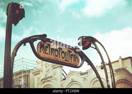A Metro Sign in Paris, Paris Details, France, Europe, - Stock Photo