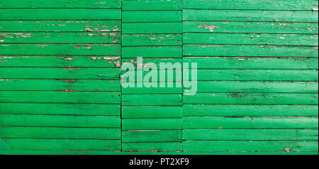 Woodshed, facade, green, weathered, close-up, detail - Stock Photo