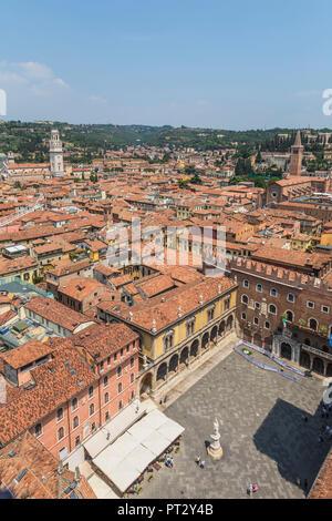 View from the Torre dei Lamberti, historic lookout tower, in the Piazza dei Signori, Verona, Veneto, Italy, Europe - Stock Photo