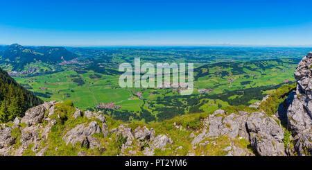 Panorama from the Grünten, 1738m, into the Illertal and on Rettenberg, left Immenstadt, Alpsee and Allgäu Alps, Oberallgäu, Allgäu, Bavaria, Germany, Europe - Stock Photo