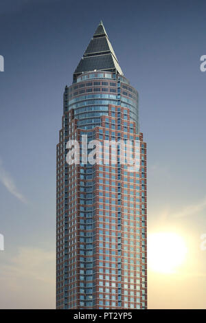 The Messeturm in Frankfurt, Hesse, Germany, Europe - Stock Photo