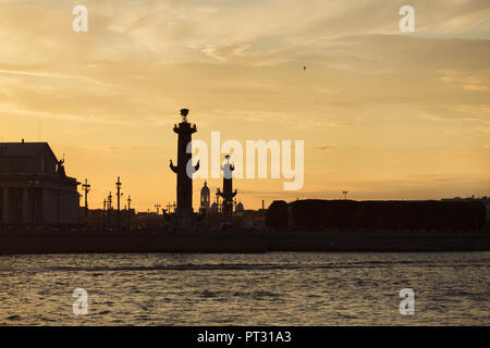 Rostral Columns designed by French neoclassical architect Jean-François Thomas de Thomon on the spit of Vasilievsky Island in Saint Petersburg, Russia, pictured at sunset. Saint Prince Vladimir's Cathedral in Petrogradsky District is seen in the background. - Stock Photo
