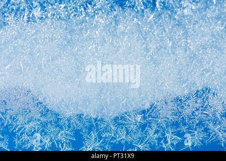 Frost pattern on glass pane - Stock Photo