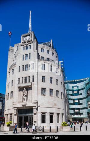 England, London, Portland Place, The BBC Broadcasting House - Stock Photo