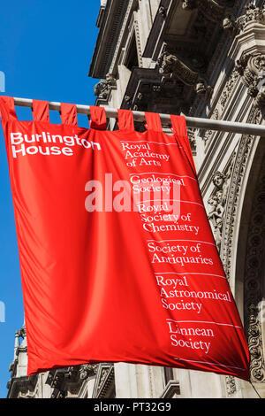 England, London, Piccadilly, Burlington House Flag - Stock Photo
