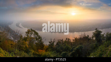 River Rhine seen from Lookout at the Drachenfels in the Siebengebirge south of Bonn, Rhineland, Germany - Stock Photo