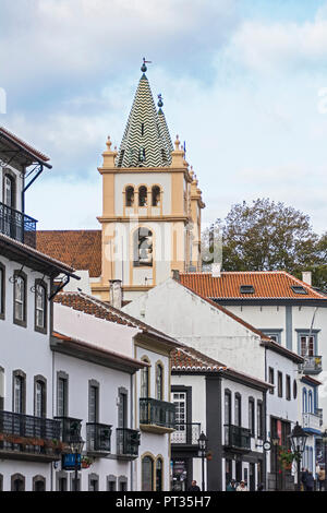 Cathedral of Angra do heroism on Azores island Terceira - Stock Photo