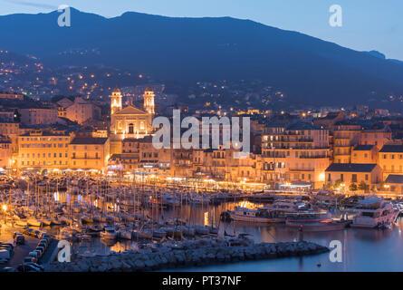 View of the port of Bastia, Paroisse Saint Jean-Baptiste church, Haute Corse, Corsica, France - Stock Photo