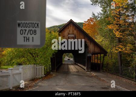 Covered Bridge in Woodstock Vermont - Stock Photo