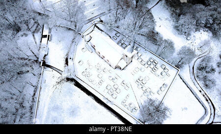 Military cemetery at the Hermitage and funerary chapel for Johann von Luxemburg in winter, near Kastel-Staadt, Trier-Saarburg district, Saar Valley, Rhineland-Palatinate, Germany - Stock Photo