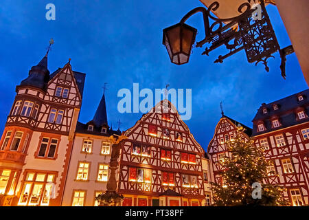 Market square in the Christmas time, Bernkastel-Kues, Mosel valley, Rhineland-Palatinate, Germany - Stock Photo